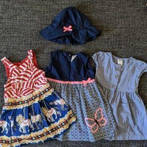 Three baby girls dress sets - 12 months